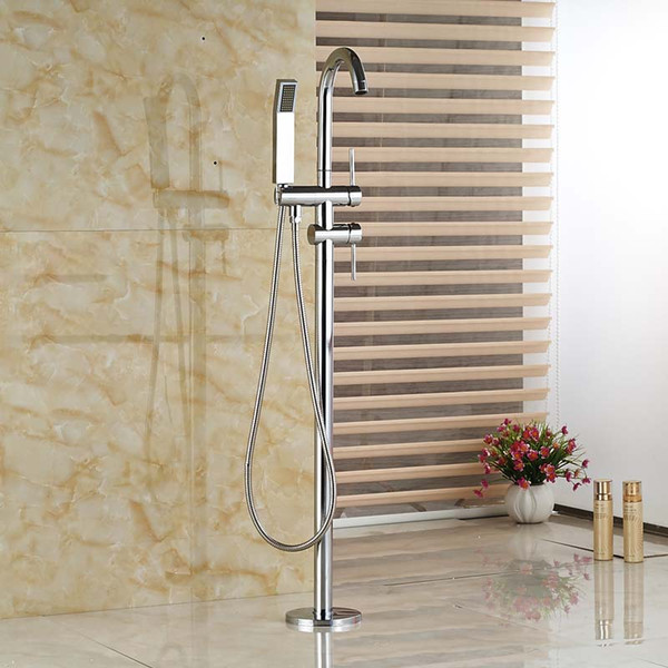 Wholesale And Retail chrome Floor Mounted Bathtub Faucet with Hand Shower Free Standing Swivel Spout Shower Mixer Tap