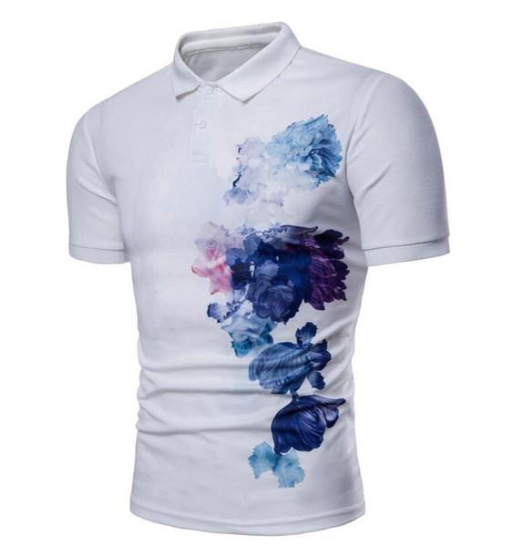 Летняя мужская китайская тушь с цветочным принтом отворотом Футболка из эластичного хлопка модная повседневная рубашка