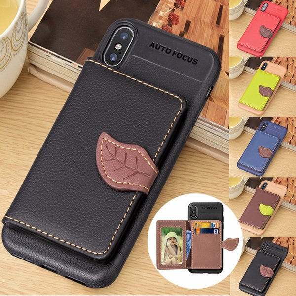 Top Qualiy General purpose For iPhone Xs/Xs Max/XR/6s/7/8 Leaf PU Leather Case Flip Card Wallet Stand Cover