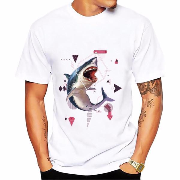 Camiseta de manga corta de verano para hombre Tops Tees nueva camiseta blanca arte de ballena cebra Gorila tiburón jirafa con camiseta friki matemática
