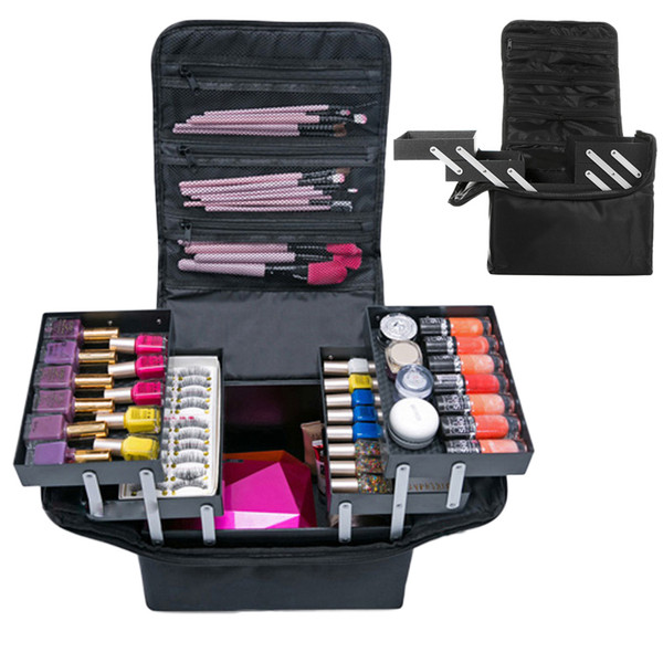 Travel Portable Cosmetic Storage Box Women Large Capacity Professional Makeup Organizer Beauty Salon Tattoos Nail Art Tool Bins Q190430