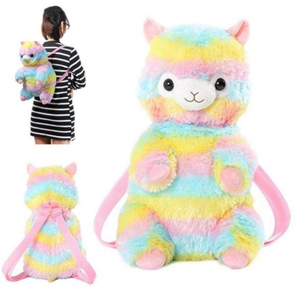 Cute Rainbow Alpaca Doll Backpack Zaino morbido peluche per bambini Bambini Kawaii Alpacasso School Bag Ooa5585