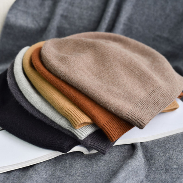 Algodón sólido de invierno Gorro de punto para mujer Sombrero casual de  color sólido con gorro a4769fdf8b4