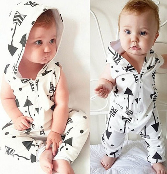 best selling Newborn Baby Boys Girls arrow printing Sleeveless hoodie Romper Jumpsuit Summer Casual Pajamas Clothes Outfitts Baby Clothing 0-24M