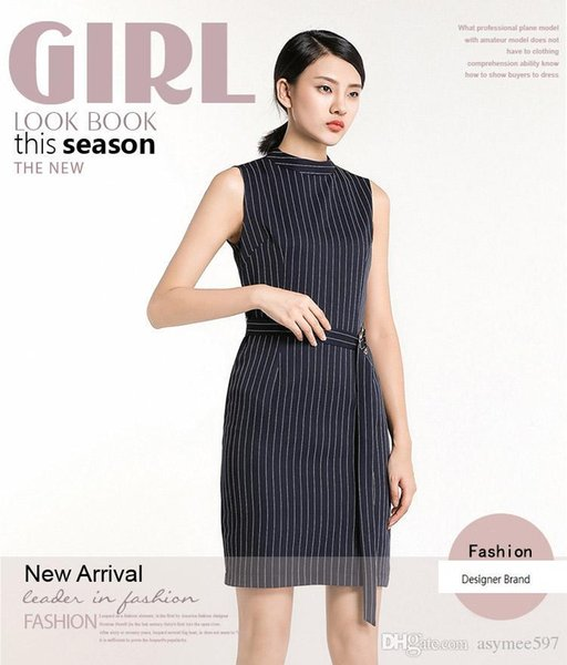 2018 Fashionable Women's Business Style Dresses A,Sexy Sleeveless,Crew Neck,Beauty Striped Printing,Midi Casual Dress