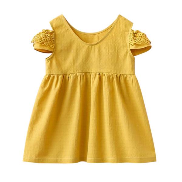 3857aa632f62547 Toddler Kid Baby Girl Летнее платье O-образным вырезом желтый без бретелек  с коротким рукавом