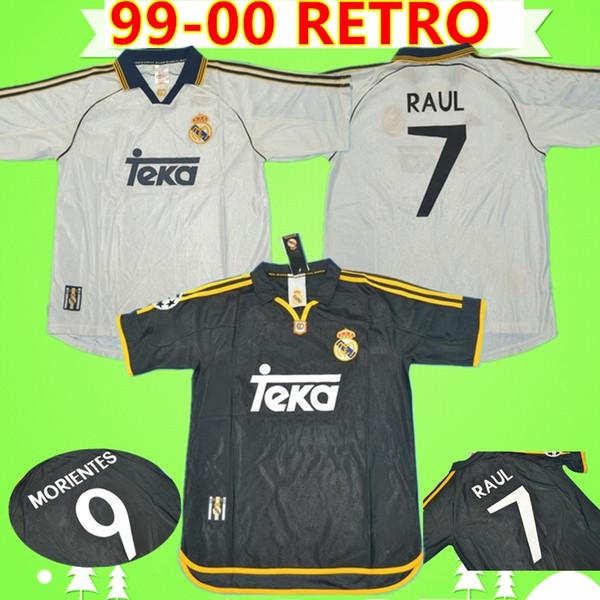 # 7 RAUL R.CARLOS HIERRO REDONDO MORIENTES 1999 2000 Real Madrid camisa de futebol retro 99 00 camisa de futebol do vintage camisa clássica de futbol soccer jersey football shirt