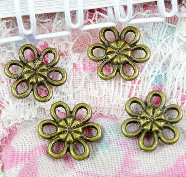 100pcs 12MM antique bronze bulk lot fashion flower connector charms for bracelet vintage metal pendants earring handmade DIY jewelry making