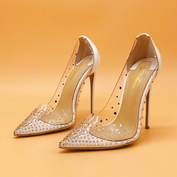 womens crystals PVC sexy high heels nightclub White Gold silver wedding shoes stiletto high heels pumps 12cm