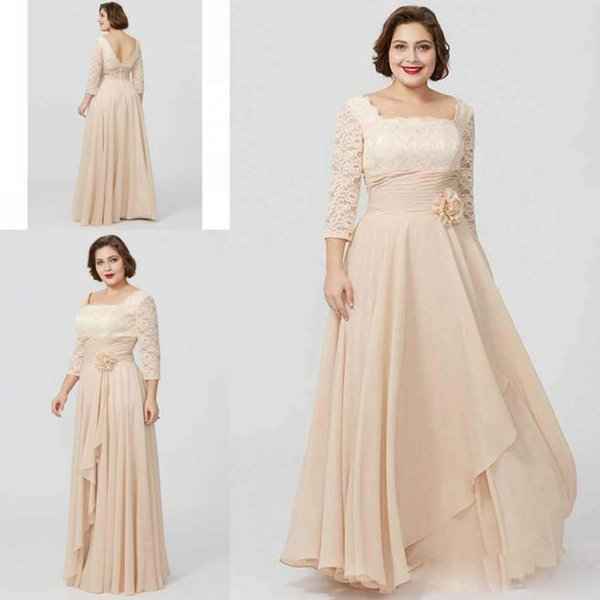 Champagne Plus Size Mother Of The Bride Dress With Chiffon Lace Square Neck Long Sleeve Weddng Guest Dress A Line Evening Gowns
