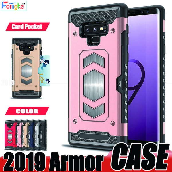 Armor Case For Samsung Galaxy S9 S8 Plus S7 edge S6 Note 8 J7 A8 2018 Card Pocket Cell Phone cases With Magnetic Car Mount For iPhone 8 7 6