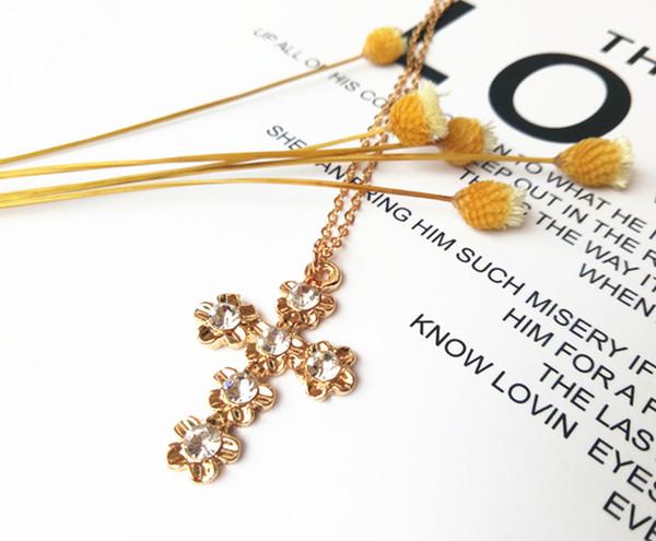 cecmic crystal reinestone cross pendant necklace fashion jewelry dubai luxury design charm gold plated chains jewelry