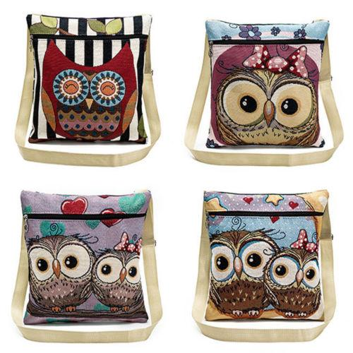 Slim Tote Bag Shopping Hand Bag Linen Embroidered Owl Shoulder Travel Storage Bags