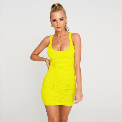 Summer Hot Sale Explosion Models Solid Color Women's Sexy Tight Pleated Suspender Dress Elastic Square Collar Sleeveless Bag Hip Skirt - ZY9