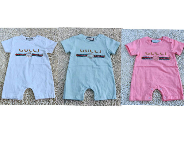 Summer Baby Boy Romper Short Sleeve Cotton Infant Jumpsuit Cartoon Printed Baby Girl Rompers Newborn Baby Clothes 3 Color