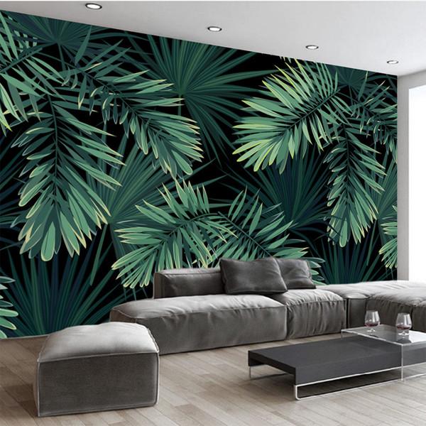 Benutzerdefinierte Wandbild Tapete Europäischen Vintage Handgemalte Regenwald Wegerich Blatt 3D Tapete Wohnzimmer Sofa Hintergrund Dekor