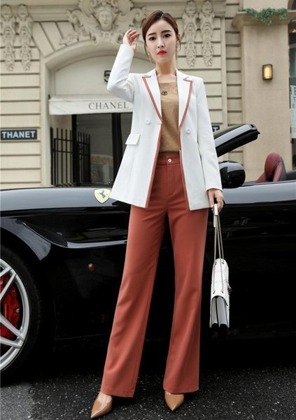 Ladies White Blazer Women Business Suits Formal Office Suits Work Pant and Jacket Sets Work Wear Office Uniform Designs