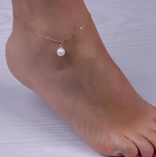 New Sexy perles imitation perles en alliage cheville chaîne Bracelets de cheville Bracelet Pied Bijoux Pieds nus Sandales Accessoires de plage
