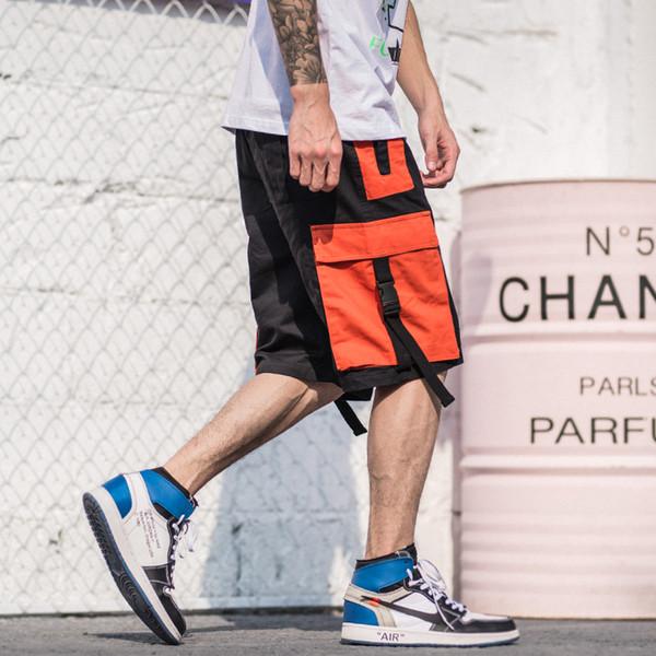 2019 Harajuku Shorts Streetwear Verano Hip Hop Cargo Corto Hombres de bolsillo Corto Jogger Algodón Sweatpant Casual Hip Hop Botín