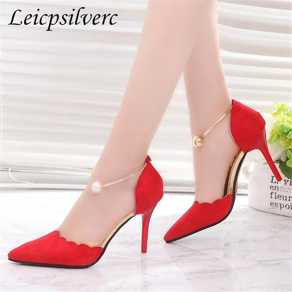 Sapatos produtos promocionais primavera e outono novo padrão de moda senhora de salto alto decoração de metal salto alto 8 cm 34-40
