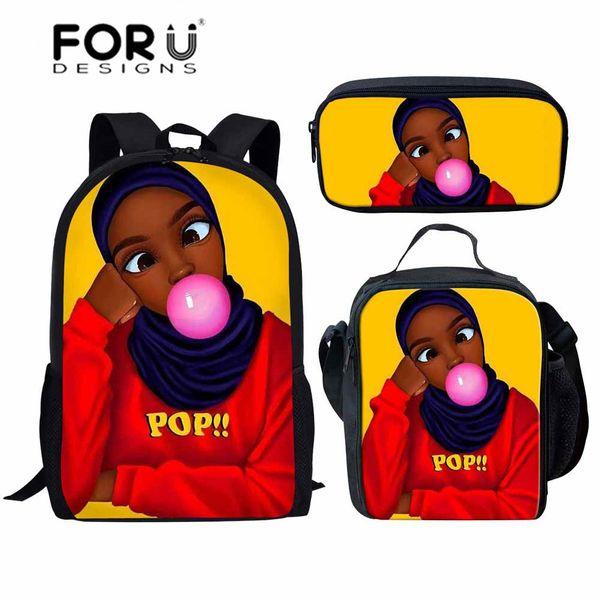 FORUDESIGNS 3pcs/set School Bags for Children Black Girls Magic African School Backpack Kids Schoolbag Students Shoulder Satchel