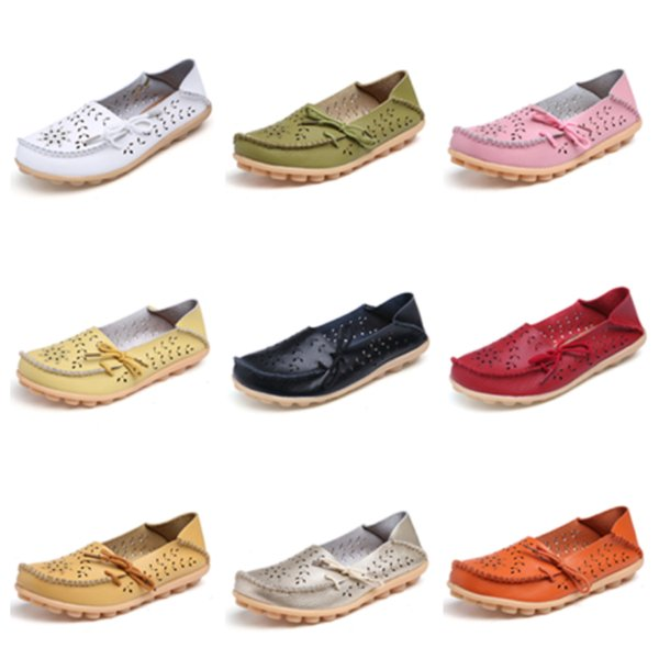 Düz Ayakkabı Doug Tembel Ayakkabı Loafer'lar Sandalet Yaz Delik Yumuşak Sığ Flats Chaussures Nefes Deri Ayakkabı T2B5003
