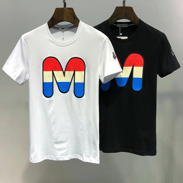 2019 kadın erkek T-Shirt Marka Büyük Harf M Baskı Moda Tasarımcısı En T-Shirt Pamuk Kısa Kollu Rahat T-Shirt M-XXX