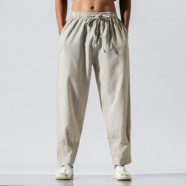 Cotton Linen Harem Pants Mens New Fashions Casual Loose Trousers Male Elastic Waist Hip Hop Chinese Traditional