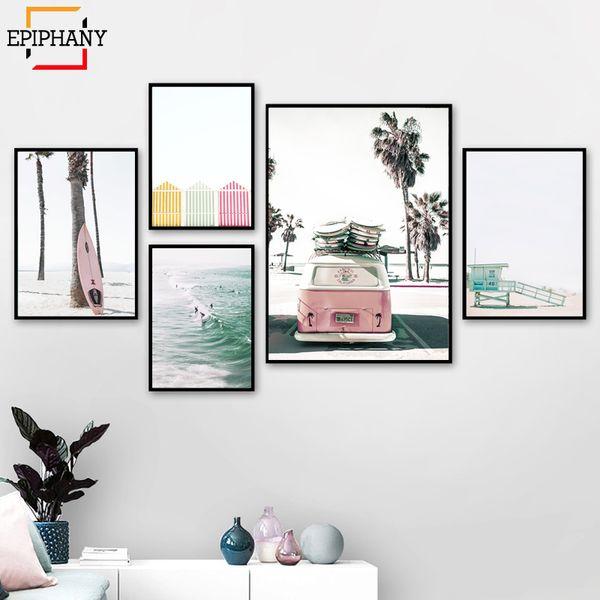 Surf Poster Set Pastel Plage Décor Rose Surfboard Californie Littoral Mur Art Peintures pour Living Rooml Nordic Décoration Maison
