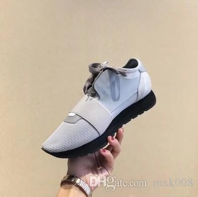 New fashion men women black leather mesh patchwork casual shoes fashion sneakers,brand designer classic leisure flat shoes35-45drop shipping