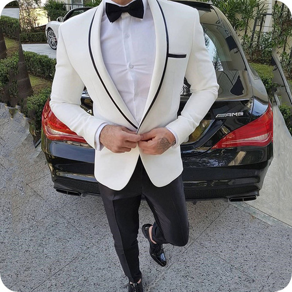 Latest Coat Pant Designs White Man Suits for Wedding Groom Tuxedo Black Shawl Lapel Slim Fit Man Blazer 2Piece Custom Made Costume Homme