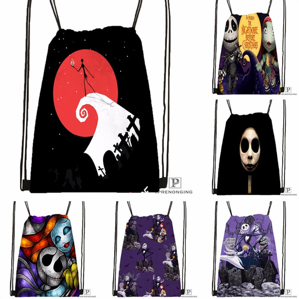 Custom The Nightmare Before Christmas Drawstring Backpack Bag Cute Daypack Kids Satchel (Black Back) 31x40cm#180531-03-53 #529791