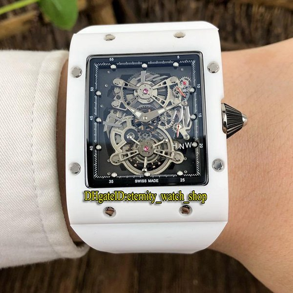 8-Style Top version RM 017 Ceramic Case Silvery Skeleton Dial Japan Miyota Automatic RM 017 Mens Watch White Rubber Strap Sport Watches O2