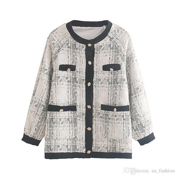 Moda Za chaqueta de las mujeres capa ocasional otoño de 2019 de un solo pecho manga larga del O-Cuello chaqueta de abrigo señoras flojas femeninas