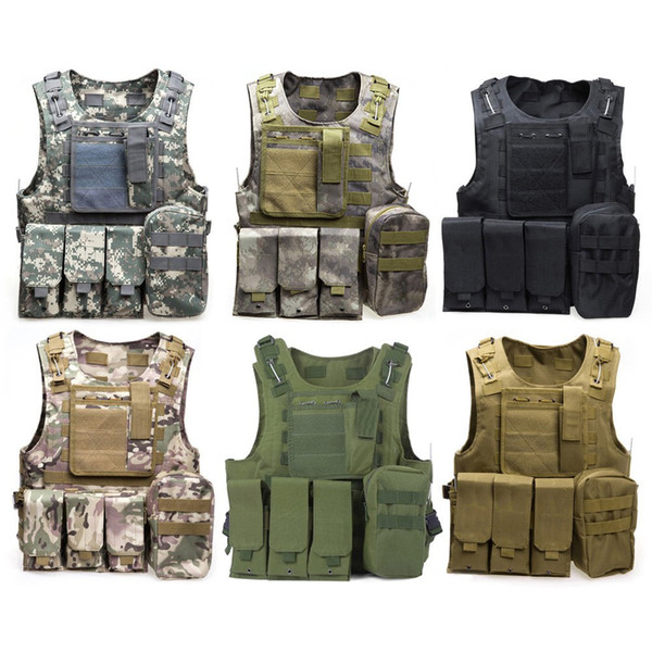 Camouflage Tactical Vest CS Army Tactical Vest Wargame Corpo Molle Armatura Attrezzature all'aperto 6 colori 600D nylon
