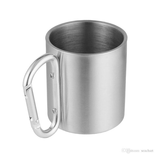 Portable Outdoor Hiking Camping Climbing Tools Self Lock Carabiner Handle Cup Stainless Steel Water Tea Coffee Mug Tool SC105