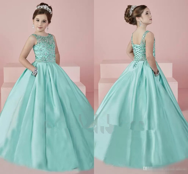 Adorable Toddler Pageant Dresses Satin Floor Length Baby Kids Party Birthday Gown Glitz Beading Custom Made Bling Bling Flower Girl Dress