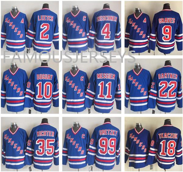 New York Rangers Hockey-Rückentrikots # 2 Brian Leetch 9 Adam Graves 11 Mark Messier 99 Wayne Gretzky 23 Jeff Beukeboom 36 Anderson