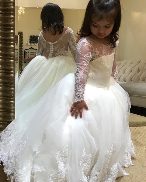 Lace Cheap Vintage Flower Girl Dresses Long Sleeves Ball Gown Little Girl Wedding Dresses Vintage Communion Pageant Dresses Gowns F160