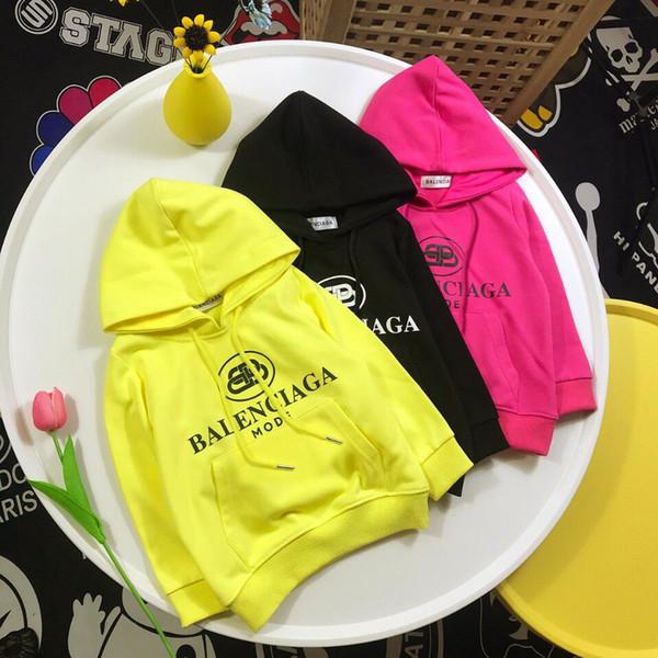 모자와 함께 편지 아기 코 튼 캐주얼 후드 2019 봄 가을 여자 여자 소년 운동복 큰 Pockt 프론트 키즈 헐거운 아우터 옷