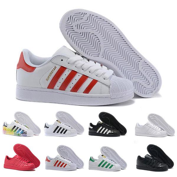 Süperstar Beyaz Kırmızı Süperstar 80 s Gurur Rahat Ayakkabılar Kadın Erkek Eğitmenler Sneakers Hologram Yanardöner Spor Tasarımcı Ayakkabı Boyutu 36-44
