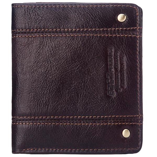 Cartera ultra delgada Diseño de marca Cartera de cuero genuino de los hombres de Rfid con el titular de la tarjeta Moda Slimline Hombre Corto Mini monedero