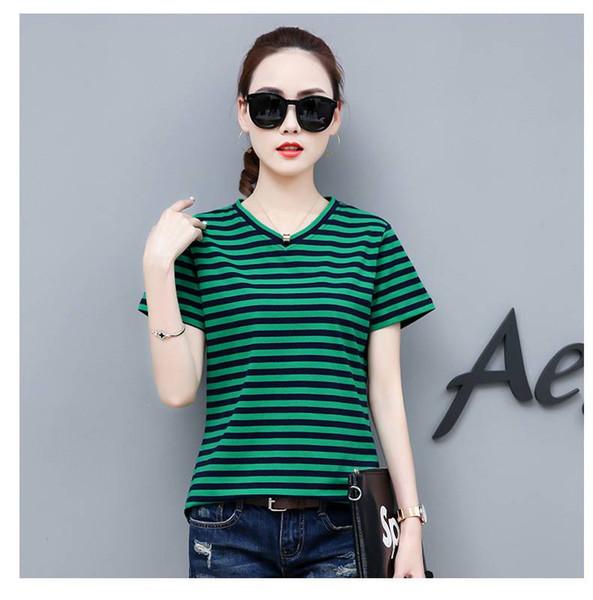 Casual diária Blusas femininas Classic listrado com decote em V T-shirt de manga curta moda feminina camisa solta de algodão T-shirt