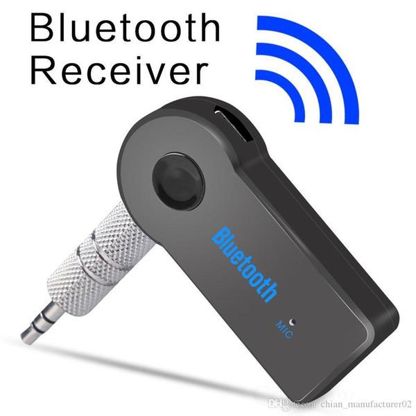 Venta al por mayor OEM nuevo wireleess manos libres bluetooth car kit 3.5mm jack AUX Audio Estéreo Música Casa Adaptador de Receptor de Coche Micrófono Bluetooth Receptor