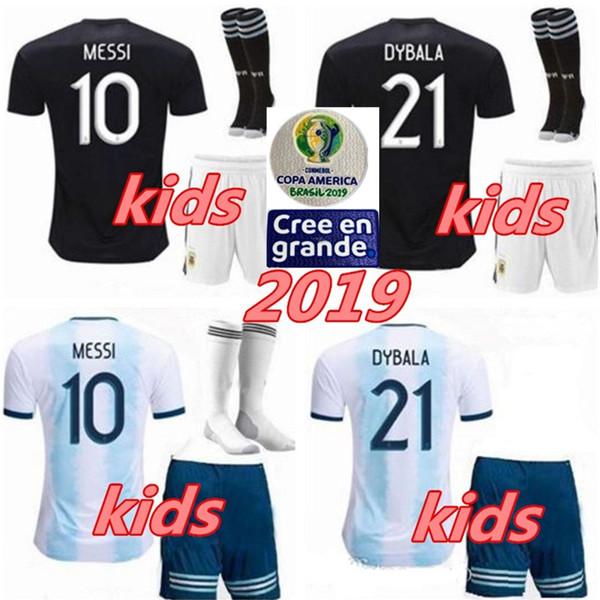 2019 아르헨티나 키즈 키트 + 양말 저지 코프 아메리카 2020 아이 축구 MESSI DYBALA HIGUAIN ICARDI Camisetas de futbol football 축구 셔츠