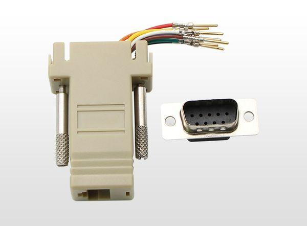 10 teile / los DB9 Stecker auf RJ45 Buchse RS232 Stecker Modular Adapter für Computer