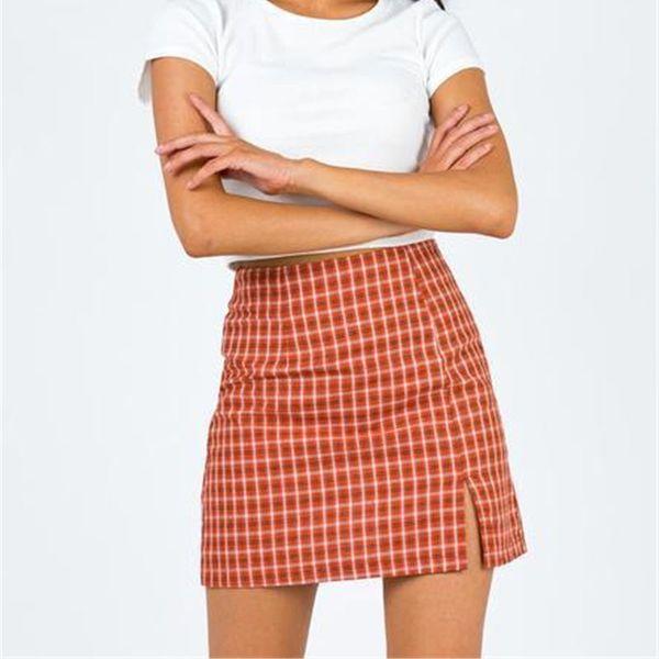 best selling Plaid Split mini skirt high waist slim women dress summer dresses shorts fashion skirts will and sandy clothes