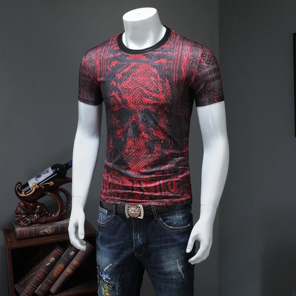 2019 Männer Taro Kurzarm T-Shirt-Sommer-koreanische dünnes Hemd beiläufige Art und Weise Red Devil Druck Halbarm Männer Tide