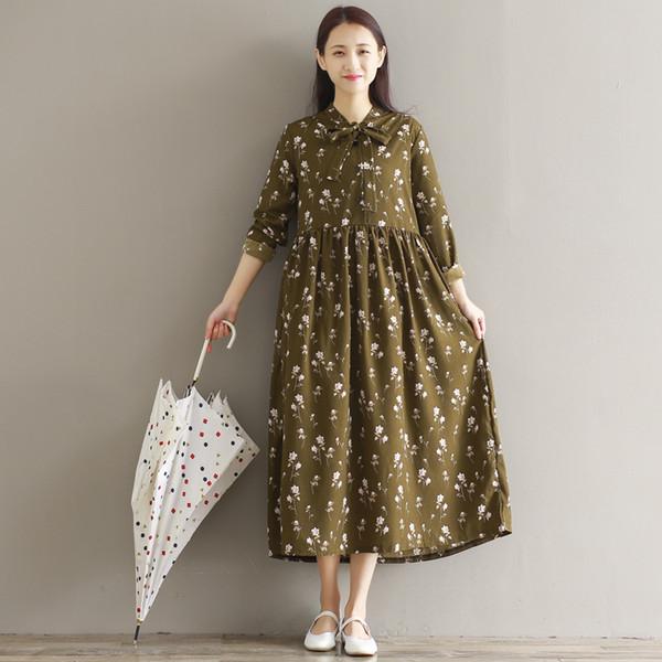 Mori Girl Primavera Autunno Donna Maxi Long Dress Bow Collar Floral Print Casual Vestido Robe Elegante Vintage Sweet Korea Chic Dress