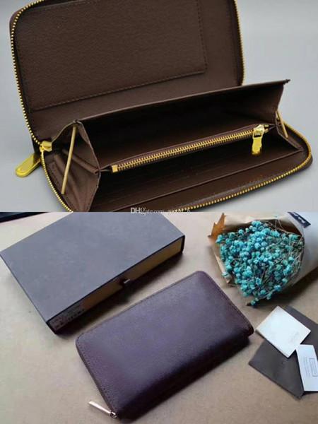 Tasarımcı cüzdan ünlü klasik standart cüzdan zippy uzun çanta moneybag fermuar Marka kılıfı sikke cep not bölmesi debriyaj 60003